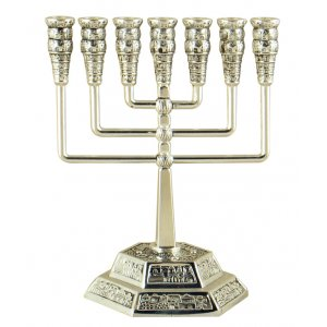 Jerusalem Temple Menorah with Decorative Cups