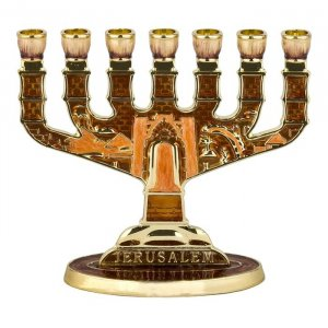 Gold Color and Bronze Enamel Jerusalem Temple Menorah