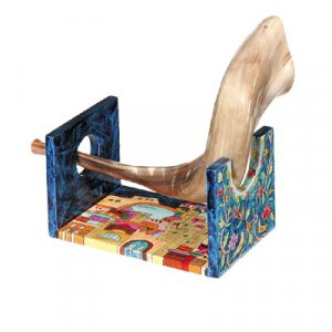 Hand Painted Wood Rams Horn Stand for Small Shofar, Jerusalem Design - Yair Emanuel