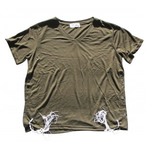 Mens T-Shirt with Attached Kosher Tzitzit - Khaki