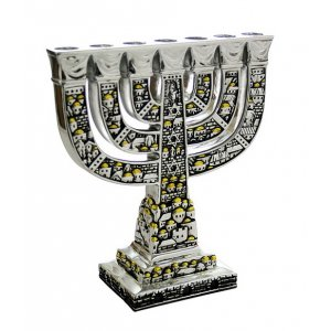 Temple Menorah with Silver-Gold Color Jerusalem Design