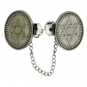 Circular Prayer Shawl Tallit Clips with Star of David - Nickel Plated