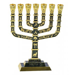 7 Branch Jerusalem Menorah on Square Base with Gold Judaic Motifs - Olive Green