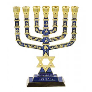 Dark Blue Temple Menorah with Decoration of Jerusalem and Twelve Tribes