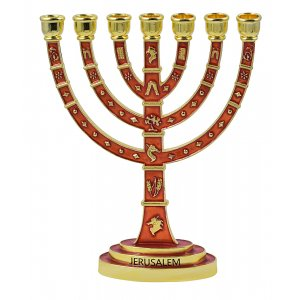 Red Enamel Gold Color Temple Menorah