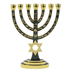 Green on Gold Color Star of David Jerusalem Temple Menorah