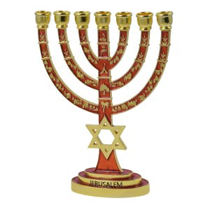 Red on Gold Color 7 Branch Menorah - Star of David Jerusalem design