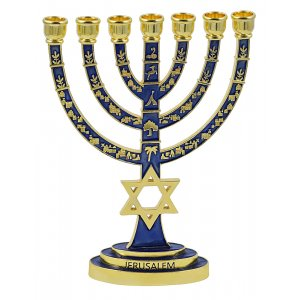 Dark Blue and Gold color Star of David 7 Branch Menorah