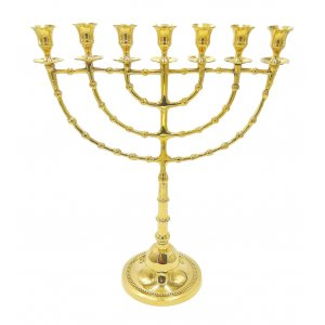 "Gold Color Jumbo 18"" Seven Branch Temple Menorah"