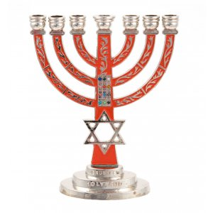 Temple Menorah with Red Background and star of David with Breastplate Stones