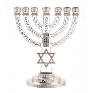Temple Menorah with White Background and star of David with Breastplate