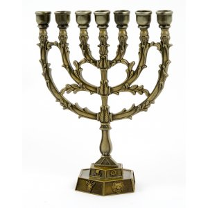 12 Tribes Temple Menorah with Leaf Design - Copper