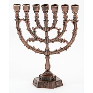 Bronze 12 Tribes Temple Menorah with Leaf Design