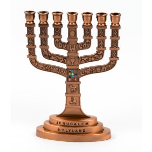 Bronze Red Color Temple Menorah with Twelve Tribes and Breastplate