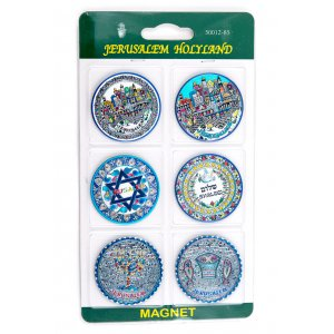 Colorful Metallic Armenian Style Magnets from Israel - 6 in pack