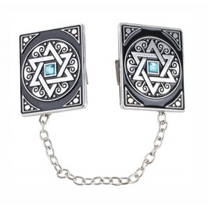 Square Prayer Shawl Clips with Chain - Decorative Blue Star of David