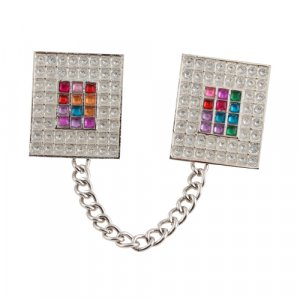 Nickel Plated Prayer Shawl Clips with Chain - Colorful Breastplate Design