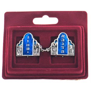 Nickel Plated Prayer Shawl Tallit Clips - Blue and Silver Torah Tablets Image