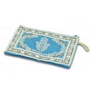 Large Embroidered Fabric Purse or Wallter with Decorative Hamsa - Gold and Teal