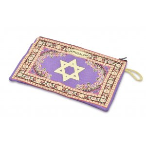 Large Embroidered Fabric Purse or Wallet with Star of David and Jerusalem - Purple