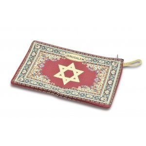 Star of David on Embroidered Fabric Large Purse or Wallet with Star of David - Maroon and Gold
