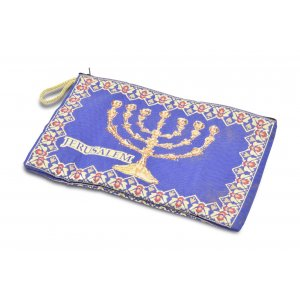 Large Purse or Wallet, Embroidered Fabric with Temple Seven Branch Menorah - Blue