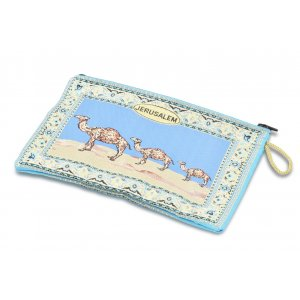 Jerusalem Camel Design on Embroidered Fabric Purse or Wallet - Light Blue