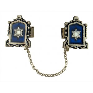 Pewter Prayer Shawl Clips with Chain - Blue Star of David in Tablet Frame