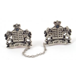 Silver Plated Prayer Shawl Tallit Clips - Lions, Tablets, and Star of David