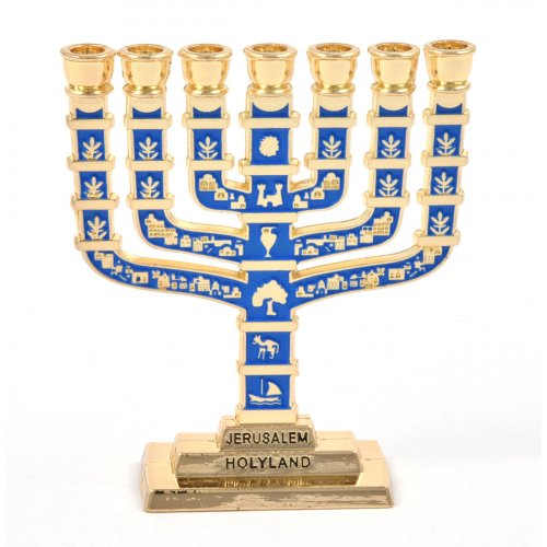 Blue Enamel 12 Tribes Design Decorative Small Seven Branch Menorah