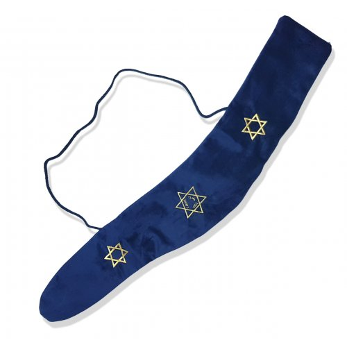 Blue Velvet Shofar Pouch, Stars of David - for Yemenite Shofar 36 - 46 inches long