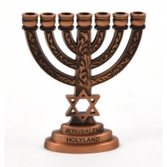 Copper Star of David Decorative Small Seven Branch Menorah