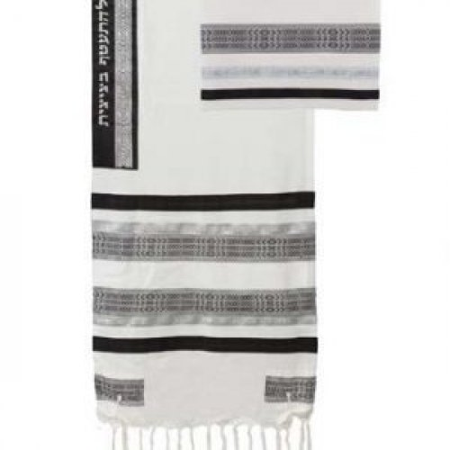 Cotton Prayer Shawl Set with Appliques, White and Black Stripes - Yair Emanuel
