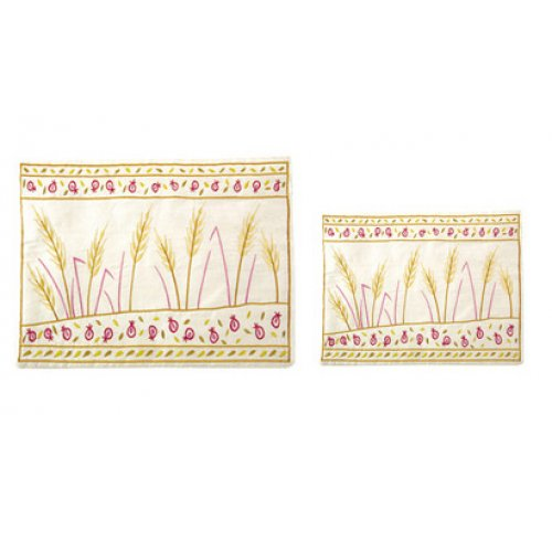 Emanuel Embroidered Prayer Shawl and Tefillin Bag Set - Golden Wheat Sheaves