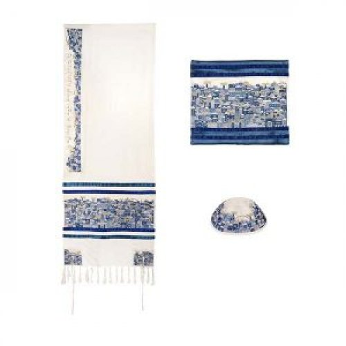 Embroidered Cotton Prayer Shawl Set, Jerusalem in Blue - Yair Emanuel