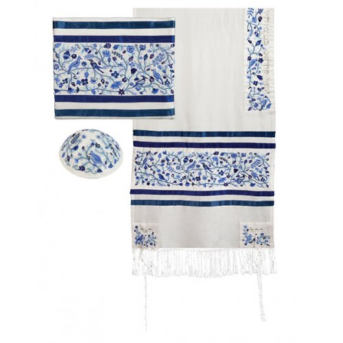 Embroidered Silk & Cotton Prayer Shawl Set Trees and Flowers, Blue - Yair Emanuel