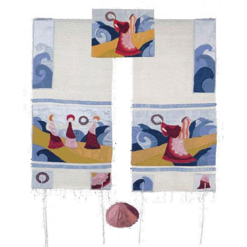 Embroidered Silk Prayer Shawl Set, Miriam and Tambourines at Red Sea - Yair Emanuel