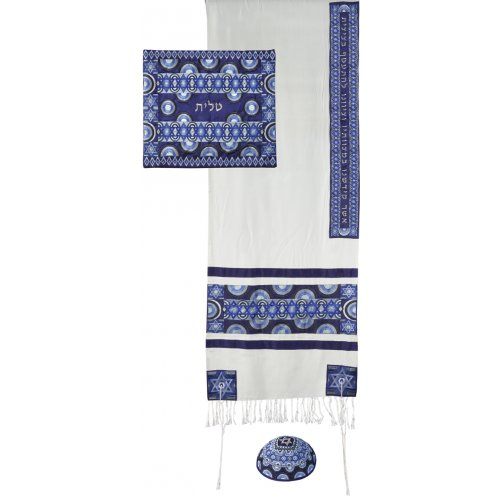 Embroidered Silk and Cotton Prayer Shawl Set, Blue Stars of David - Yair Emanuel