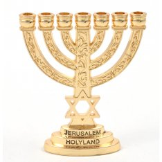 Gold Color Star of David Decorative Small Seven Branch Menorah