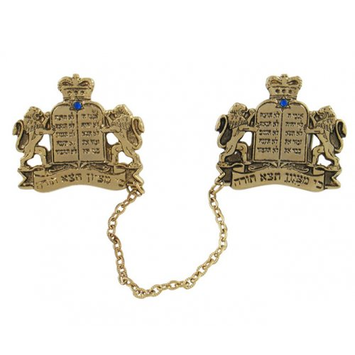Gold Plated Prayer Shawl Clips with Chain - Lion of Judah with Tablets