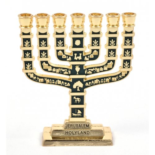 Green Enamel 12 Tribes Design Decorative Small Seven Branch Menorah