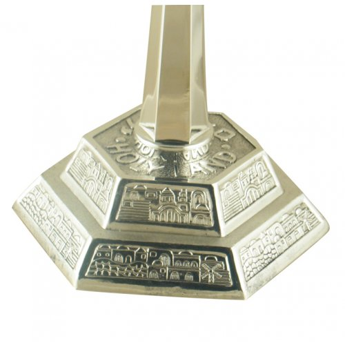 Jerusalem Design Temple Menorah - Silver Plated