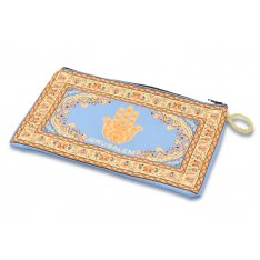 Large Embroidered Fabric Purse or Wallet with Decorative Hamsa - Gold, Blue and Orange
