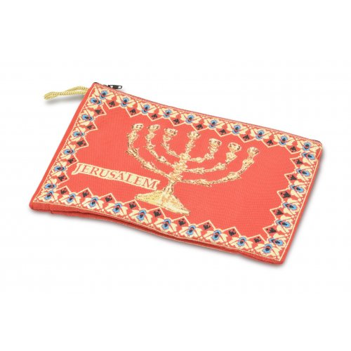 Large Embroidered Fabric Purse or Wallet with Seven Branch Temple Menorah - Red