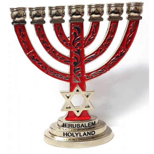 Miniature 7-Branch Menorah with Star of David - Silver and Red