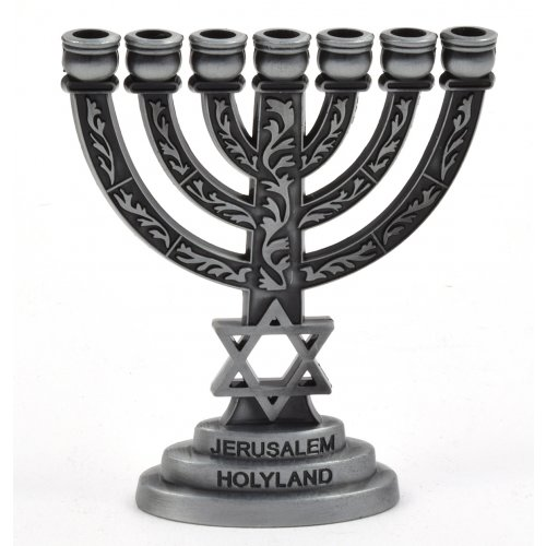 Pewter Star of David Decorative Small Seven Branch Menorah