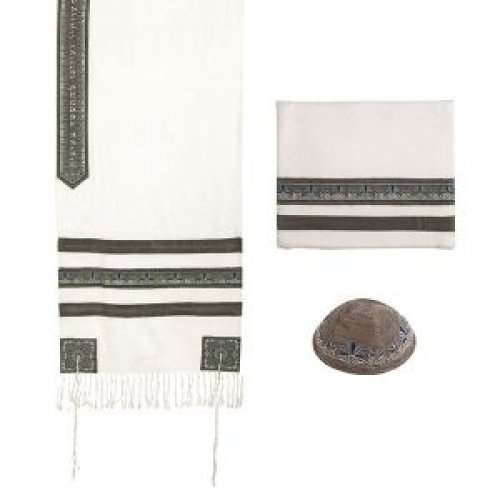Polysilk Prayer Shawl Set with Decorative Embroidered Gray Stripes - Yair Emanuel