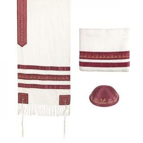 Prayer Shawl Set with Decorative Embroidered Stripes, Maroon - Yair Emanuel