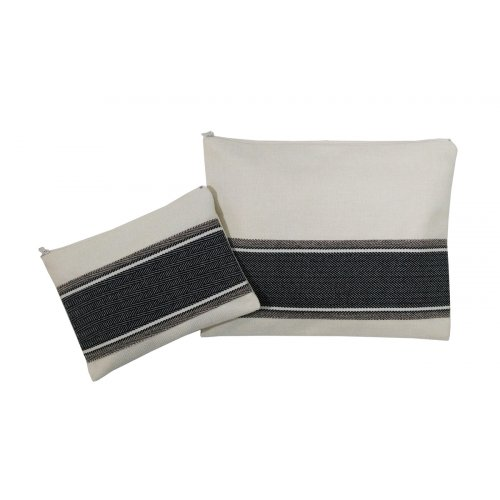 Prayer Shawl and Tefillin Bag Set, Gray Herringbone Stitch on Off-White - Ronit Gur