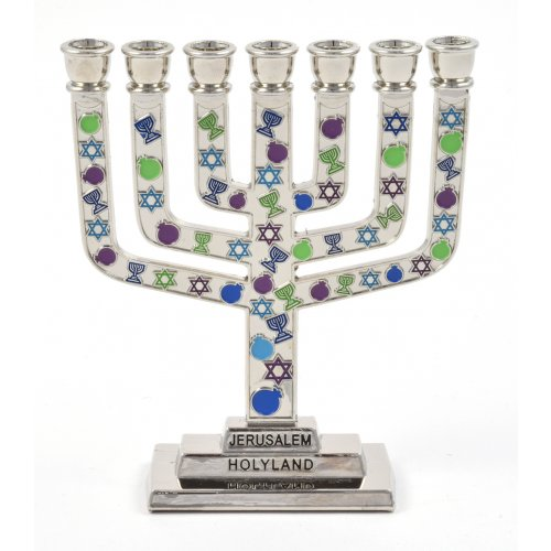 Purple, Green and Blue Judaic Symbols Small Temple Menorah
